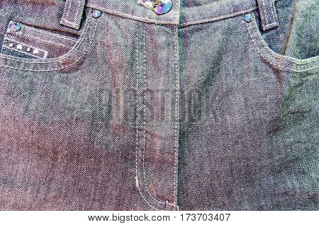 Close up jean zipper denim fabric texture background