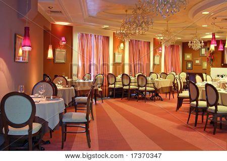 red restaurant interior