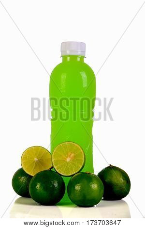 Orange juice bottle. Isolated on the background