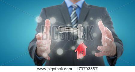 Businessman gesturing against white background against blue vignette background 3D