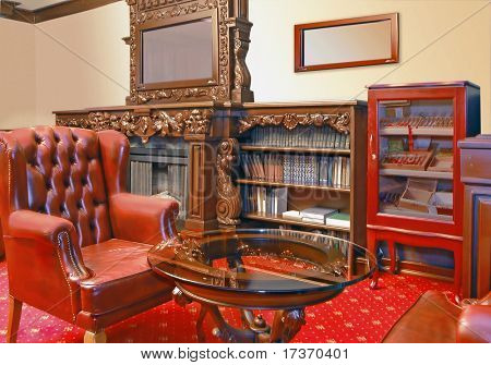 red cabinet interior
