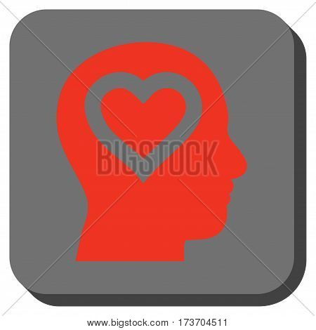 Love In Head rounded button. Vector pictograph style is a flat symbol on a rounded square button, red and black colors.