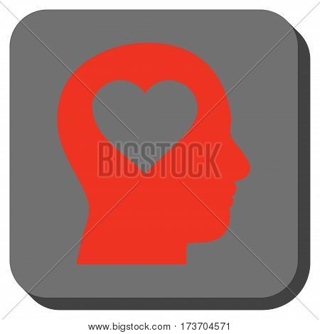 Love In Head interface toolbar button. Vector pictogram style is a flat symbol in a rounded square button, red and black colors.