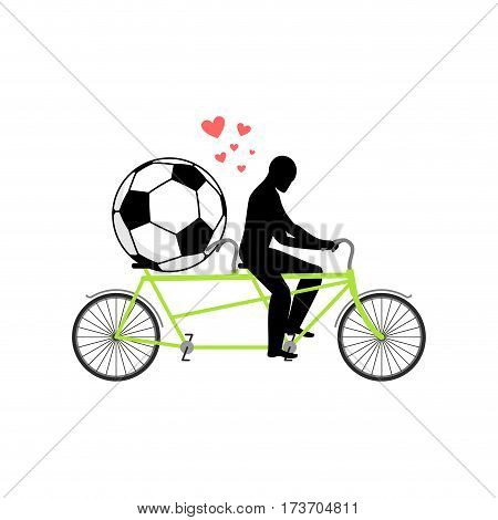 Lover Soccer. Guy And Football Ball On Tandem. Lovers Of Cycling. Man Rolls  Bicycle. Joint Walk On