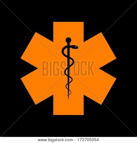 Medical symbol of the Emergency or Star of Life. Orange icon on black background. Old phosphor monitor. CRT.