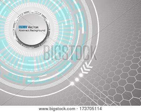 Abstract white futuristic circles and hexagons background. Used clipping mask.