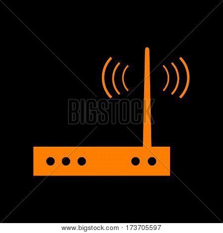 Wifi modem sign. Orange icon on black background. Old phosphor monitor. CRT.