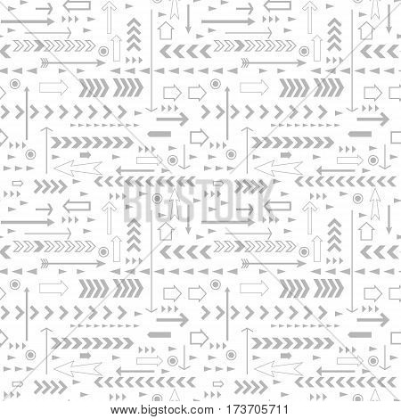 Vector seamless gray arrows pattern on white background.