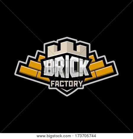 brickyard logo icon badge emblem orange vector.