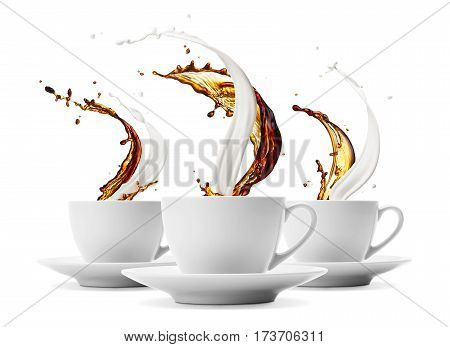 three cups of coffee and milk splashing