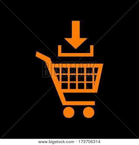 Add to Shopping cart sign. Orange icon on black background. Old phosphor monitor. CRT.
