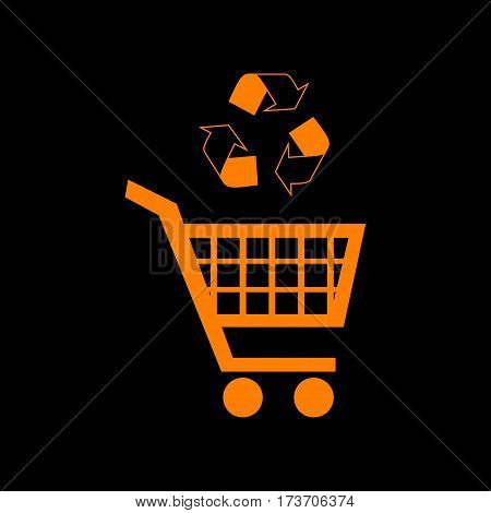 Shopping cart icon with a recycle sign Orange icon on black background. Old phosphor monitor. CRT.