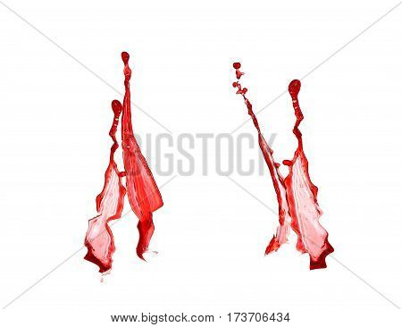 Collage Red Wine Splashes Isolated On White Background