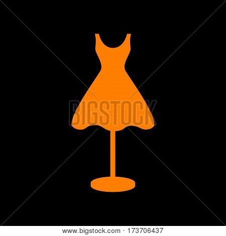 Mannequin with dress sign. Orange icon on black background. Old phosphor monitor. CRT.