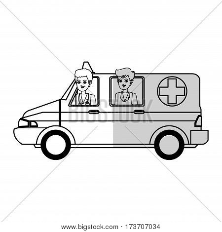 medical ambulance and doctors over white background. vector illustration