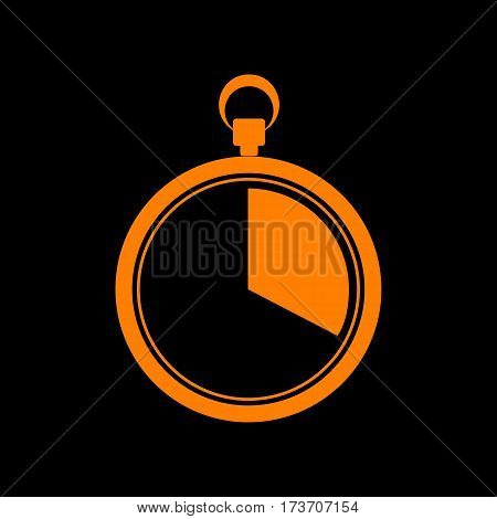 The 20 seconds, minutes stopwatch sign. Orange icon on black background. Old phosphor monitor. CRT.