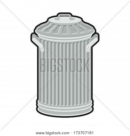 Trash Can Isolated. Wheelie Bin On White Background. Dumpster Iron.