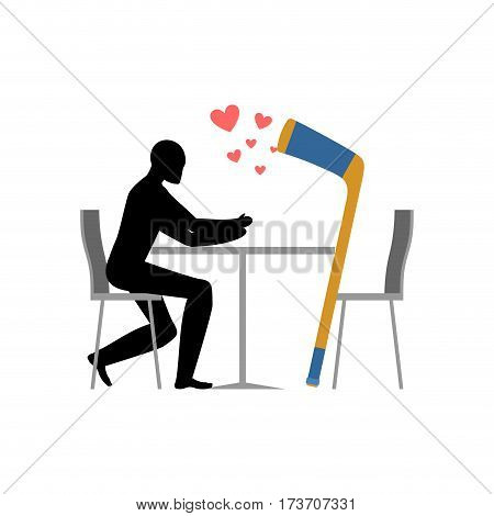 Lover Hockey. Hockey Stick And Guy In Cafe. Lovers In Restaurant. Romantic Date. Love Sport Play Gam