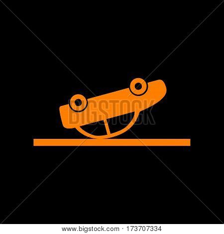 Crashed Car sign. Orange icon on black background. Old phosphor monitor. CRT.