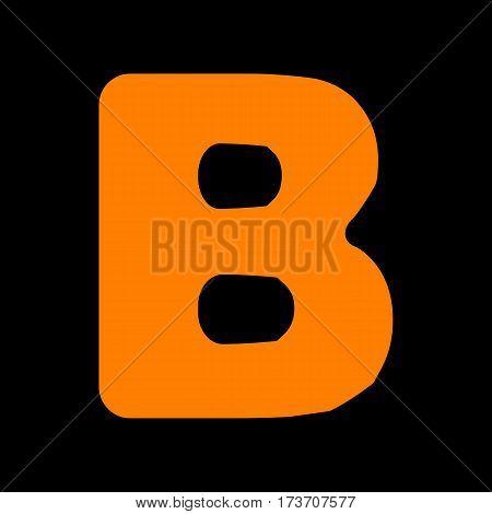 Letter B sign design template element. Orange icon on black background. Old phosphor monitor. CRT.