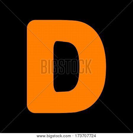 Letter D sign design template element. Orange icon on black background. Old phosphor monitor. CRT.