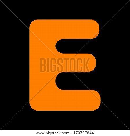 Letter E sign design template element. Orange icon on black background. Old phosphor monitor. CRT.