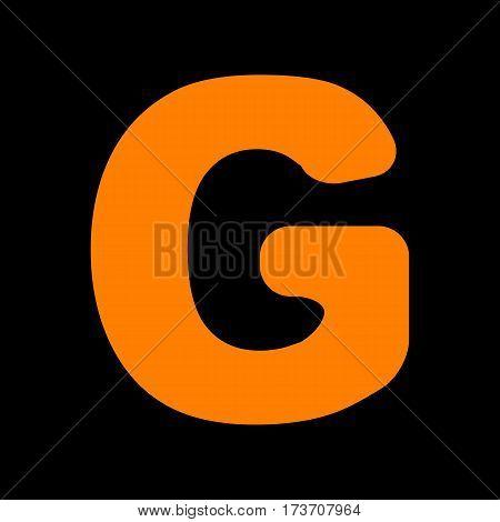 Letter G sign design template element. Orange icon on black background. Old phosphor monitor. CRT.