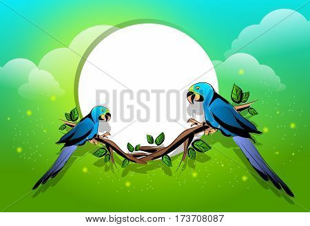 Two parrots sitting on twig of tree with circle board and colorful background illustration