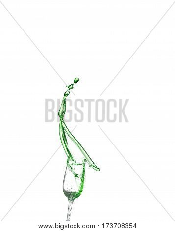 Green Alcoholic Cocktail On White Isolate Splash