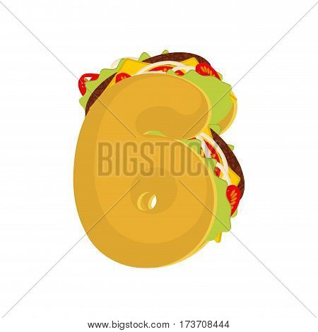 Number 6 Tacos. Mexican Fast Food Font Six. Taco Alphabet Symbol. Mexico Meal Abc