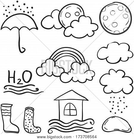 Doodle of weather with cloud various set collection stock