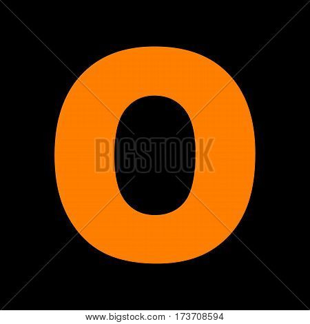 Letter O sign design template element. Orange icon on black background. Old phosphor monitor. CRT.