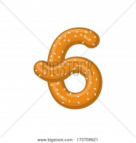 Number 6 Pretzel. Snack Font Six Symbol. Food Alphabet Sign. Traditional German Meal Is Abc. Bake Nu