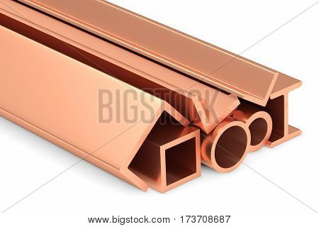 Metallurgical industry non-ferrous industrial products - group of stainless rolled copper metal products (pipes girders profiles bars balks and armature) on white industrial 3D illustration.