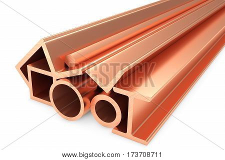 Metallurgical industry non-ferrous industrial products - group of stainless rolled copper metal products (pipes profiles girders bars balks and armature) on white industrial 3D illustration