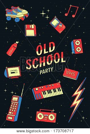 old school elements set. retro and disco illustration with synthesizers, phone, tape recorder.