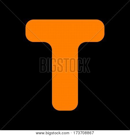 Letter T sign design template element. Orange icon on black background. Old phosphor monitor. CRT.