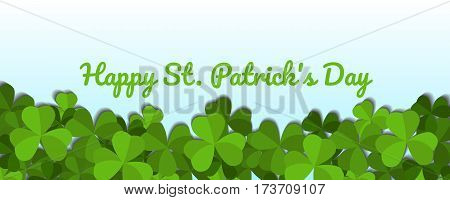 St. Patrick's day vector horizontal background with shamrock leaves. Happy St. Patrick's day.