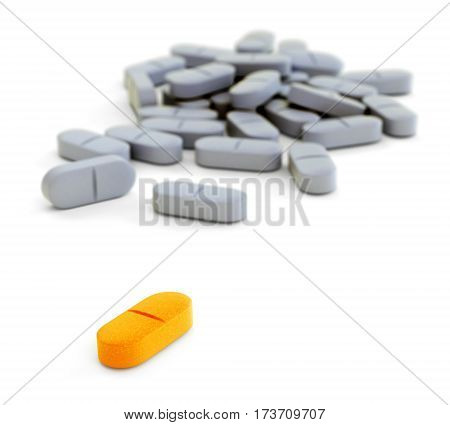 Drug or vitamin pills. Group of gray dietary supplement tablets and unique orange one isolated on white background. 3D illustration