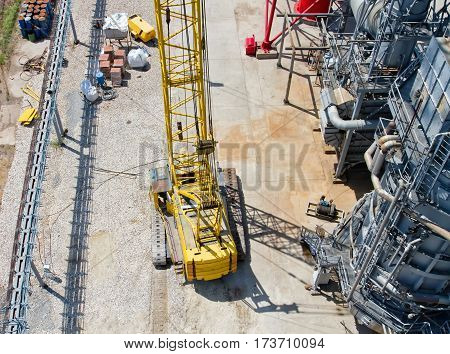Crawler Crane Is On Site During Installation