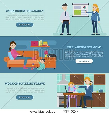 Busy mother horizontal banners with woman working during pregnancy maternity leave and freelance occupation vector illustration
