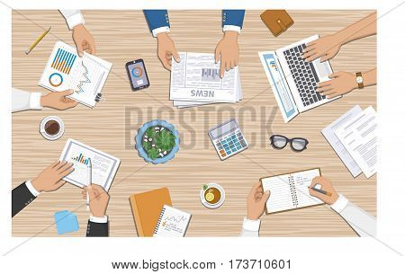 Teamwork, business meeting concept. Planning, reports, corporate managemen. Business people at the desk with documents, laptop, tablet, notebook, calculator, phone, graphics, newspaper, cups. Vector
