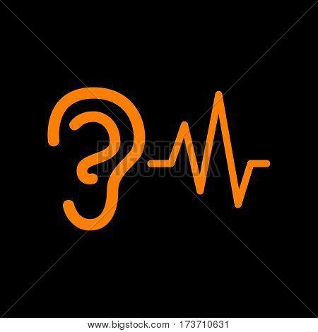 Ear hearing sound sign. Orange icon on black background. Old phosphor monitor. CRT.