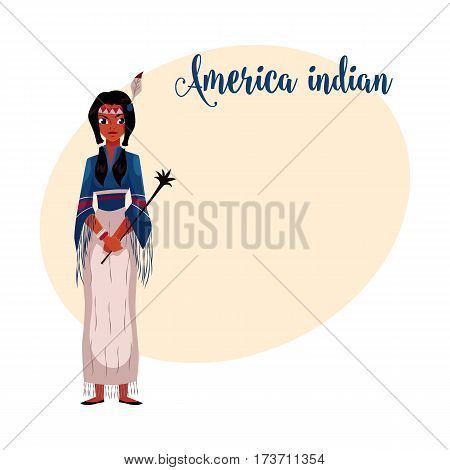 Native American Indian woman in traditional national tribal fringed shirt and long skirt, cartoon vector illustration with place for text. Native American, Indian woman in national clothes