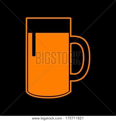 Beer glass sign. Orange icon on black background. Old phosphor monitor. CRT.
