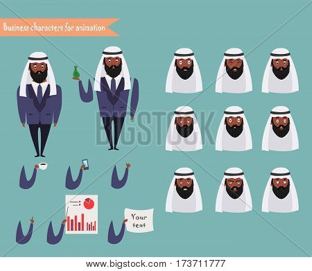 Arab character for scenes. Parts of body template for animation. Funny Arab office man cartoon.Vector illustration isolated on white background.Business Elements for web design.