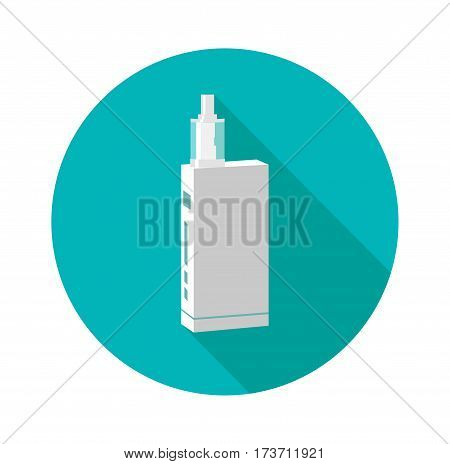 Vape device flat , long shadow. trend new culture. smoking. Vape vector sign.