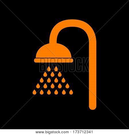 Shower sign. Orange icon on black background. Old phosphor monitor. CRT.