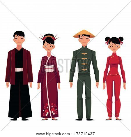 Set of people, men and women, in traditional national costumes, cartoon vector illustration isolated on white background. People of China in Chinese national clothes, garments, costumes