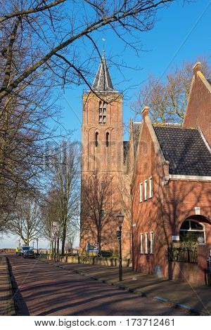 EDAM, NORTH HOLLAND / THE NETHERLANDS - JANUARY 16, 2017: View of the National monument - Greate of St. Nicholas Church -  on a sunny winter day